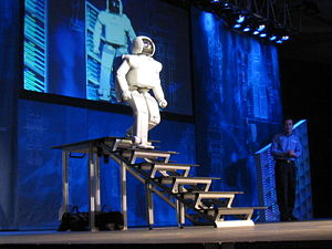 Cybernetics - ASIMO uses sensors and sophisticated algorithms to avoid obstacles and navigate stairs.