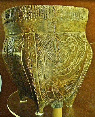 Hopewell pottery - Hopewell pot with bird design at Hopewell Culture National Historical Park museum