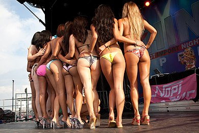 Women in a bikini contest are valued for their bodies and sexual appeal over other attributes. Hot Import Nights bikini contest 35.jpg