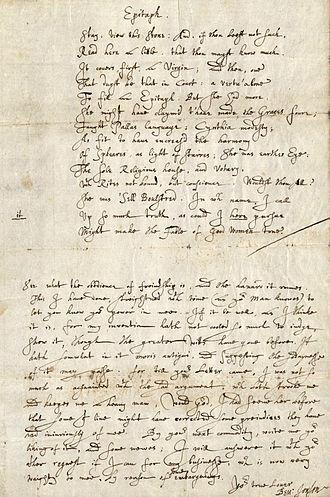 "Ben Jonson - ""Epitaph for Cecilia Bulstrode"" manuscript, 1609"