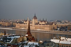 Hungarian Parliament Building from Castle Hill, Budapest panorama01.jpg