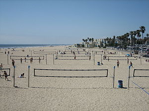 Volleyball variations - Rows of beach volleyball nets in Huntington Beach, California.