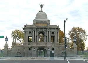 History of Detroit - Chauncey Hurlbut Memorial Gate (1894) - restored in 2007. Waterworks Park.