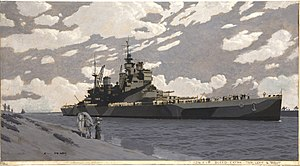INF3-34 Battleship in Suez Canal, HMS Howe Artist Charles Pears 1939-1946.jpg