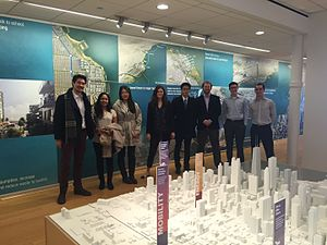 Illinois Solar Decathlon - Members of the 2015 ISD Race to Zero competition team meeting with architectural firm Skidmore, Owings, and Merrill, LLP in Chicago, IL to work on their project.