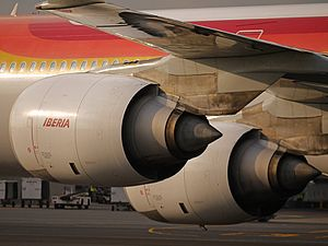 Rolls-Royce Trent 500 - Trent 500 engines on the left wing of an Iberia A340-600
