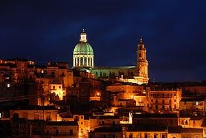 Giovanni Spampinato - The city scape of Ragusa, Italy at night.