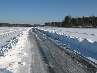 Ice road path made over frozen water rather than land