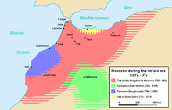Idrisid state, around 820 CE, showing its maximal extent.