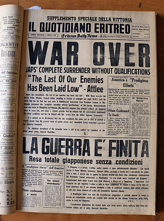 "Timeline of World War II (1945–1991) - Eritrean newspaper of August 15, 1945 titles: ""War is over"""
