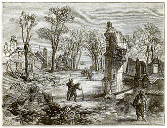 Bacon's Rebellion - Ruins of Jamestown (1878 engraving)