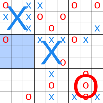 """Ultimate tic-tac-toe - The board of an incomplete ultimate tic-tac-toe game (the large """"X""""s and """"O""""s representing local board games which have been won by that player). The most recent move was O playing in the middle-left square of the top-middle grid, forcing X to play their next move in the middle-left grid."""