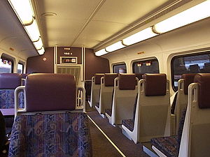 Inside a Metrolink commuter train in Los Angel...