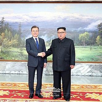 May 2018 inter-Korean summit - Moon Jae-in and Kim Jong-un shaking hands