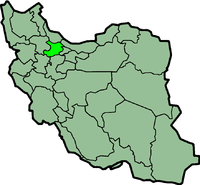 Map of Iran with क़ज़्वीन highlighted.