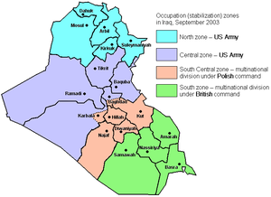 Occupation zones in Iraq as of September 2003.