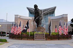 Iron Mike statue in front o the Airborne & Special Operations Museum, Dountoun Fayetteville