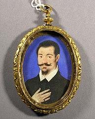 Portret van een onbekende heer in koperen medaillon