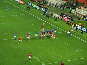 Portugal national rugby union team - Portugal (in red) playing Italy