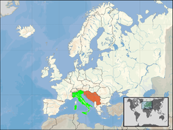 Map indicating locations of Italy and Yugoslavia