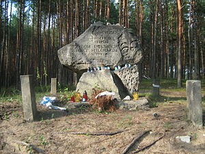 Reserve Police Battalion 101 - Memorial in the forest of Winiarczykowa Góra near Józefów, southeast of Warsaw, commemorating the Jewish victims of the 1942 massacre committed by the Reserve Police Battalion 101. The inscription omits the name of the Nazi German formation