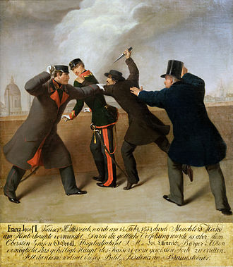 Maximilian Karl Lamoral O'Donnell - Attempt on Franz Joseph. Painting by J.Reiner. O'Donnell is on left.