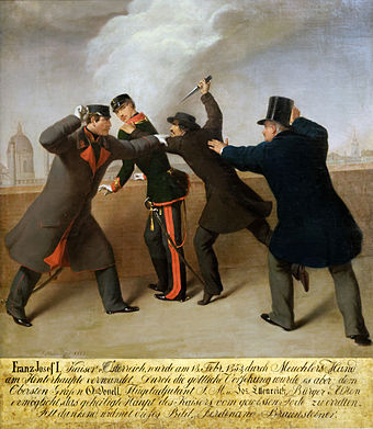 Assassination attempt on the emperor, 1853 J.Reiner - Attentat auf Kaiser Franz Joseph.jpg