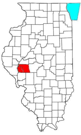 Jacksonville, Illinois micropolitan area - Location of the Jacksonville Micropolitan Statistical Area in Illinois