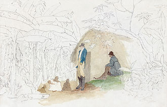 Watercolor painting - An unfinished watercolor by William Berryman, created between 1808 and 1816, using watercolor, ink, and pencil. The use of partial pigmentation draws attention to the central subject.