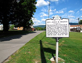 James B. Frazier - Tennessee Historical Commission marker in Frazier's hometown of Pikeville