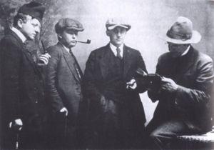 Jørgen-Frantz Jacobsen - The big four of Faroese literature. From left to right: Janus Djurhuus, Jørgen-Frantz Jacobsen, William Heinesen and Hans Andreas Djurhuus, 1924