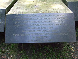 Jaworzno concentration camp - The COP Jaworzno memorial plate in Polish, located to between the German and Ukrainian plates