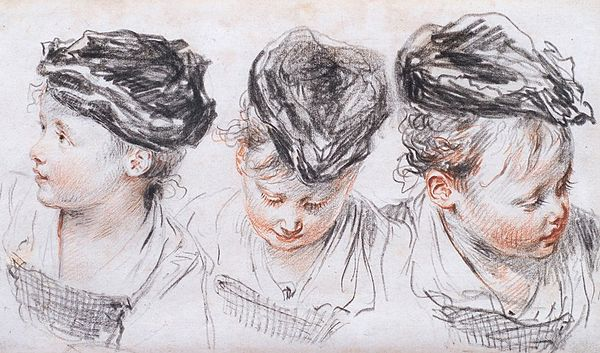Three Studies of a Young Girl Wearing a Hat, c. 1716. Red and black chalk snd graphite on paper by Jean-Antoine Watteau.