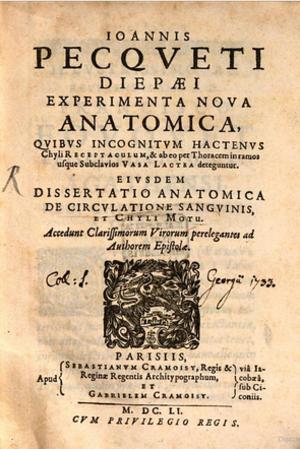 Jean Pecquet - Experimenta Nova Anatomica (New Anatomical Experiments)