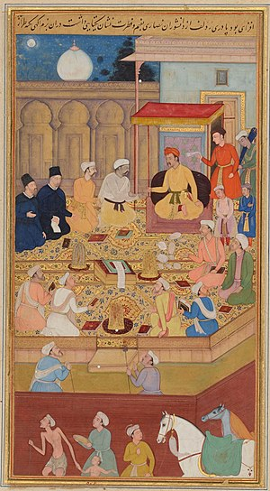 Dabestan-e Mazaheb - Mughal Emperor Akbar the Great (r. 1556-1605) holds a religious assembly in the Ibadat Khana (House of Worship) in Fatehpur Sikri; the two men dressed in black are the Jesuit missionaries Rodolfo Acquaviva and Francisco Henriques.  Illustration to the Akbarnama, miniature painting by Nar Singh, ca. 1605