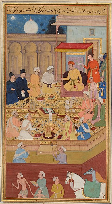 Mughal Emperor Akbar the Great (r. 1556-1605) holds a religious assembly in the Ibadat Khana (House of Worship) in Fatehpur Sikri; the two men dressed in black are the Jesuit missionaries Rodolfo Acquaviva and Francisco Henriques. Illustration to the Akbarnama, miniature painting by Nar Singh, ca. 1605. Jesuits at Akbar's court.jpg