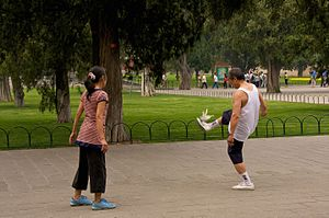 Jianzi - Two people playing jianzi