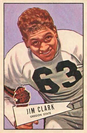 Jim Clark (American football) - Clark on a 1952 Bowman football card