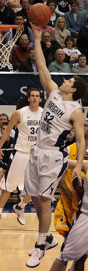 English: Jimmer Fredette finger roll vs. Wyomi...