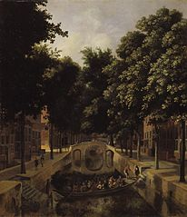 View of a Dutch Canal, possibly the Oude Gracht in Haarlem