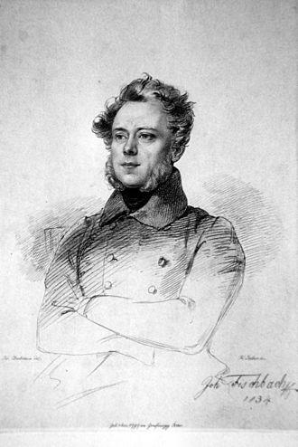 Johann Fischbach - Johann Fischbach, engraving by Franz Xaver Stöber, after a painting by Josef Danhauser (1834)