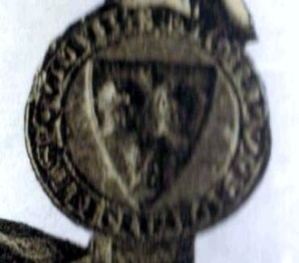 John II Comyn, Lord of Badenoch - Seal of John Comyn, attached to a charter (1278) which granted use of a road through his forest to Inchaffray Abbey.