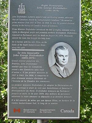 The Right Honourable John G. Diefenbaker Centre for the Study of Canada - John G. Diefenbaker Plaque