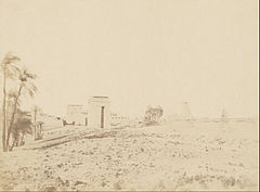 John Beasly Greene (American, born France - (Temple and Palms, View of the Ruins, Karnak) - Google Art Project.jpg