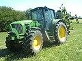 John Deere 6630 tractor, Claas rotary tedder.jpg