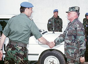 Michael Rose (British Army officer) - Michael Rose (left) with John Shalikashvili in 1994