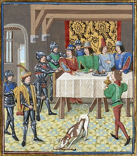 John the Good, King of France, ordering the arrest of Charles the Bad, King of Navarre; from the Chroniques of Jean Froissart. John the Good king of Fra ordering the arrest of Charles the Bad king of Navarre.jpg
