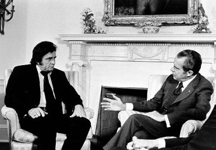 Cash advocated prison reform at his July 1972 meeting with United States President Richard Nixon Johnny Cash-Nixon.jpg