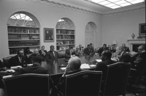 A. Leon Higginbotham Jr. - President Johnson meeting with civil rights leaders following the assassination of Martin Luther King. Judge Higginbotham is seated two seats to the right of Vice President Humphrey