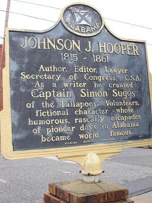 Dadeville, Alabama - A historic marker in Dadeville notes the significance of Hooper and his famous character Simon Suggs, a fictional native of Dadeville